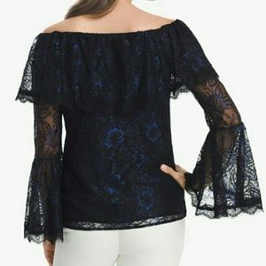 WHBM - Black Noble Blue Lace Off The Shoulder Top
